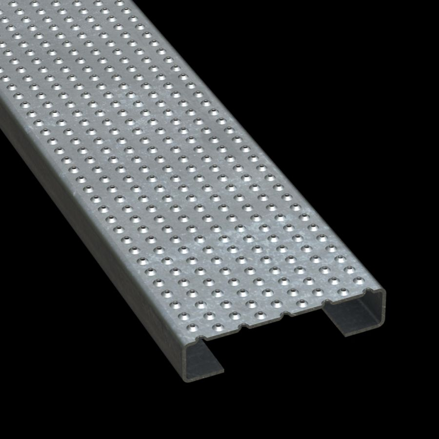 """McNICHOLS® Plank Grating Plank, TRACTION TREAD™, ADA, Galvanized Steel, G90, 11 Gauge (.1233"""" Thick), Button-Top (7"""" Width), 1-1/2"""" Channel Depth, Slip-Resistant Surface, 4% Open Area"""