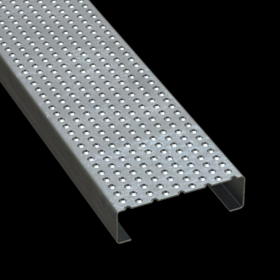 """McNICHOLS® Plank Grating Plank, TRACTION TREAD®, ADA, Galvanized Steel, G90, 13 Gauge (.0934"""" Thick), Button-Top (7"""" Width), 2"""" Channel Depth, Slip-Resistant Surface, 4% Open Area"""