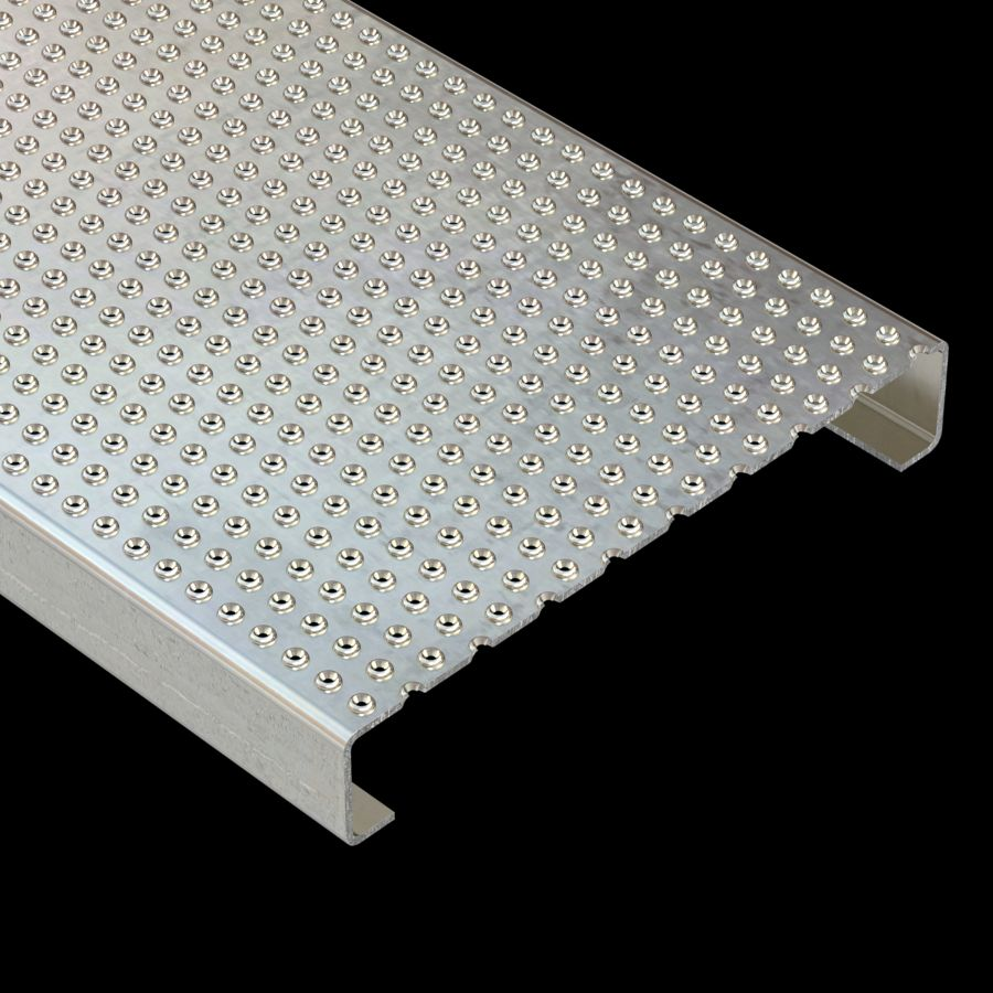 "McNICHOLS® Plank Grating Plank, TRACTION TREAD®, ADA, Aluminum, Alloy 5052-H32, .1250"" Thick (8 Gauge), 18-Row (12"" Width), 2"" Channel Depth, Slip-Resistant Surface, 3% Open Area"