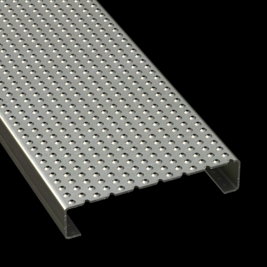 """McNICHOLS® Plank Grating Plank, TRACTION TREAD®, ADA, Aluminum, Alloy 5052-H32, .1250"""" Thick (8 Gauge), Button-Top (10"""" Width), 2"""" Channel Depth, Slip-Resistant Surface, 4% Open Area"""