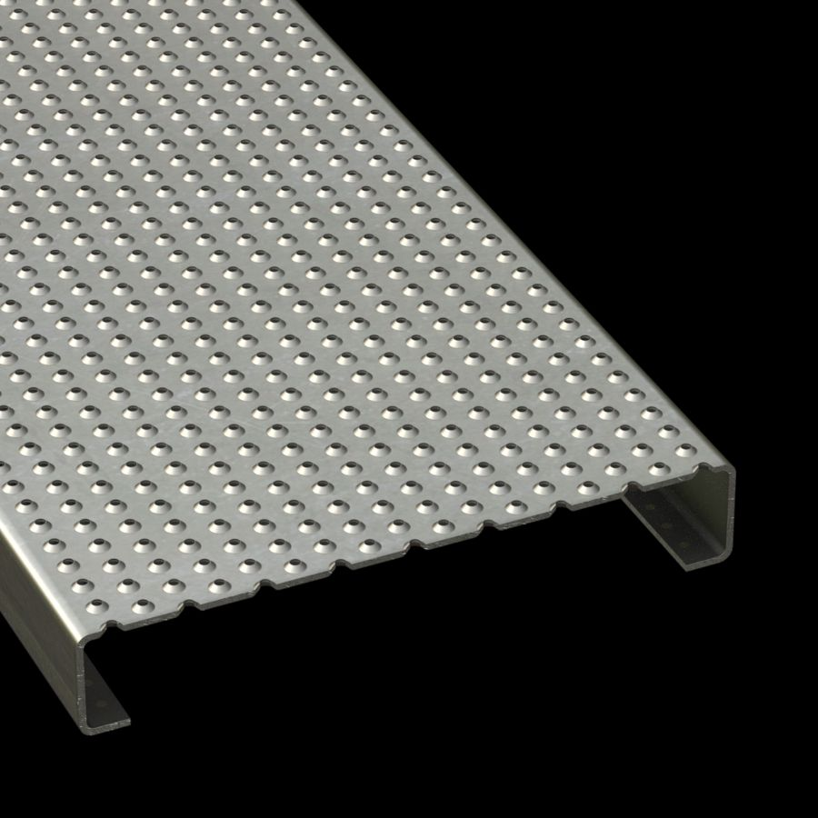 """McNICHOLS® Plank Grating Plank, TRACTION TREAD™, ADA, Aluminum Type 5052-H32, .1250"""" Thick (8 Gauge),  Button-Top (12"""" Width), 2"""" Channel Depth, Slip-Resistant Surface, Plank, 4% Open Area"""