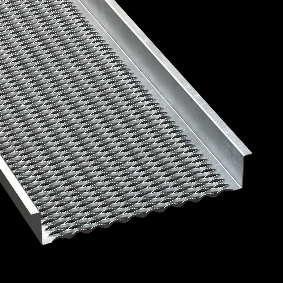 "McNICHOLS® Plank Grating Walkway, GRIP STRUT®, Galvanized Steel, ASTM A-653 G90, 12 Gauge (.1084"" Thick), 10-Diamond (24"" Width), 4-1/2"" Channel Height, Serrated Surface, 47% Open Area"