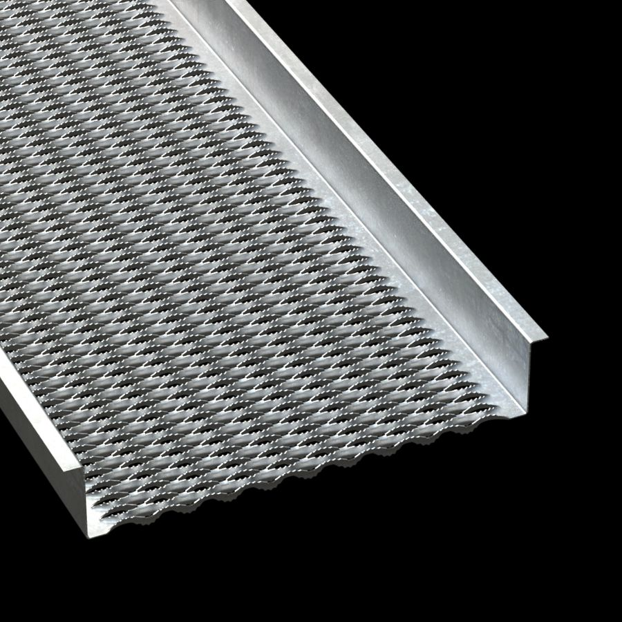 "McNICHOLS® Plank Grating Walkway, GRIP STRUT®, Galvanized, ASTM A-653 G90, 14 Gauge (.0785"" Thick), 10-Diamond (24"" Width), 4-1/2"" Channel Height, Serrated Surface, 47% Open Area"