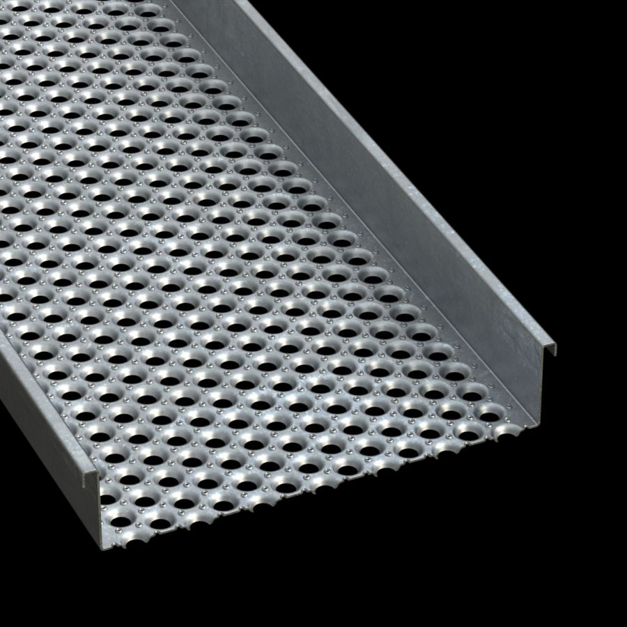 "McNICHOLS® Plank Grating Walkway, PERF-O GRIP®, Galvanized Steel, ASTM A-924, 11 Gauge (.1233"" Thick), 13-Hole (24"" Width), 5"" Channel Height, Slip-Resistant Surface, 36% Open Area"