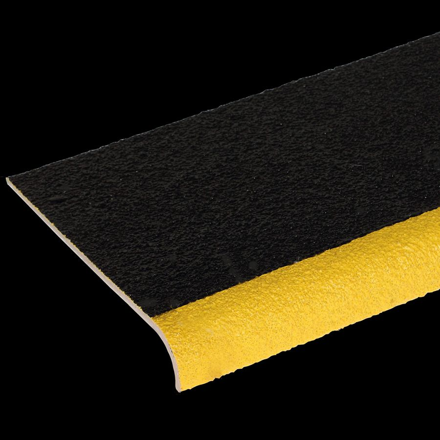 "McNICHOLS® Stair Treads Fiberglass Grating, Molded, Stair Tread Cover Panel, Solid, MS-STC-09, Fiberglass, SGF Polyester Resin, Black with Yellow Nosing, 3/16"" Thick, Solid Cover (9-1/8"" Width), Grit Surface, 90° Angle Integral Nosing on Front Edge (1-7/8"" Height) of Stair Tread Cover Panel, 0% Open Area"