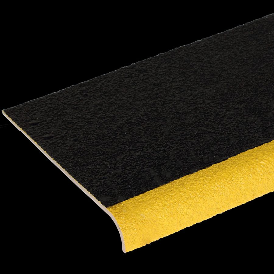 "McNICHOLS® Stair Treads Fiberglass Grating, Molded, Stair Tread Cover Panel, Solid, MS-STC-10, Fiberglass, SGF Polyester Resin, Black with Yellow Nosing, 3/16"" Thick, Solid Cover (10-1/8"" Width), Grit Surface, 90° Angle Integral Nosing on Front Edge (1-7/8"" Height) of Stair Tread Cover Panel, 0% Open Area"