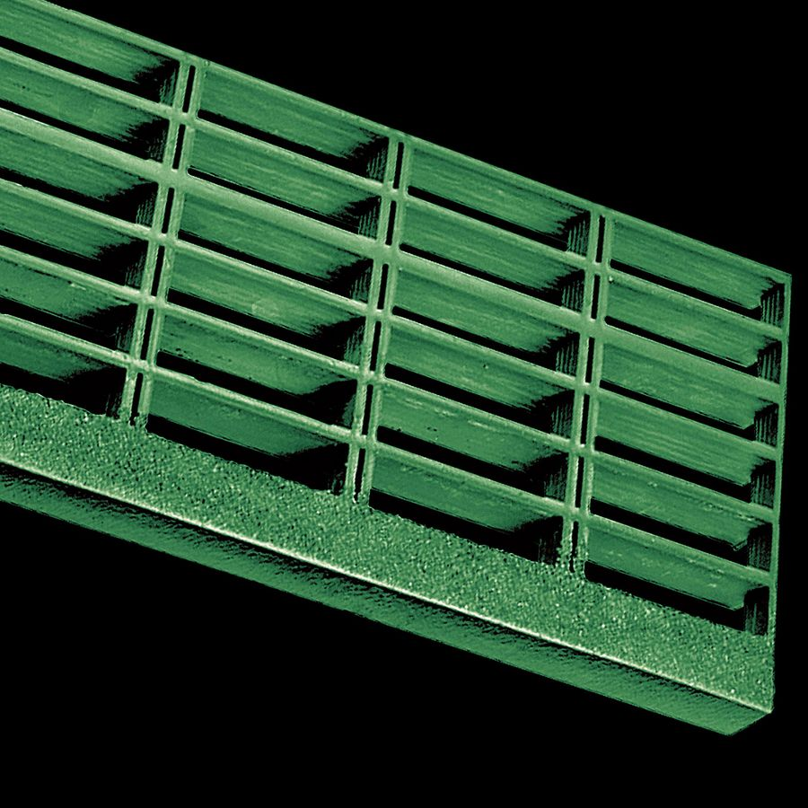"McNICHOLS® Stair Treads Fiberglass Grating, Molded, Stair Tread Panel, Rectangular, MS-R-ST-150, Fiberglass, SGF Polyester Resin, Green, 1-1/2"" Grid Height, 1-1/2"" x 6"" Rectangular Grid, Grit Surface, 1-5/8"" Wide Integral Nosing on Both Sides of Stair Tread Panel Length, 65% Open Area"