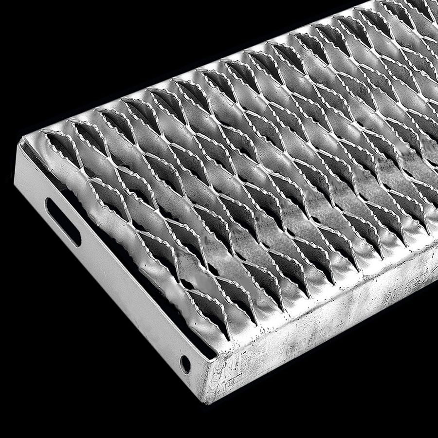 "McNICHOLS® Stair Treads Plank Grating, Plank Stair Tread, GRIP STRUT®, Carbon Steel, HRPO, 12 Gauge (.1046"" Thick), 4-Diamond (9-1/2"" Width), 1-1/2"" Channel Depth, Serrated Surface, No Nosing, CP-PG-415 Plank Grating Stair Tread Carrier Plates Attached, 45% Open Area"