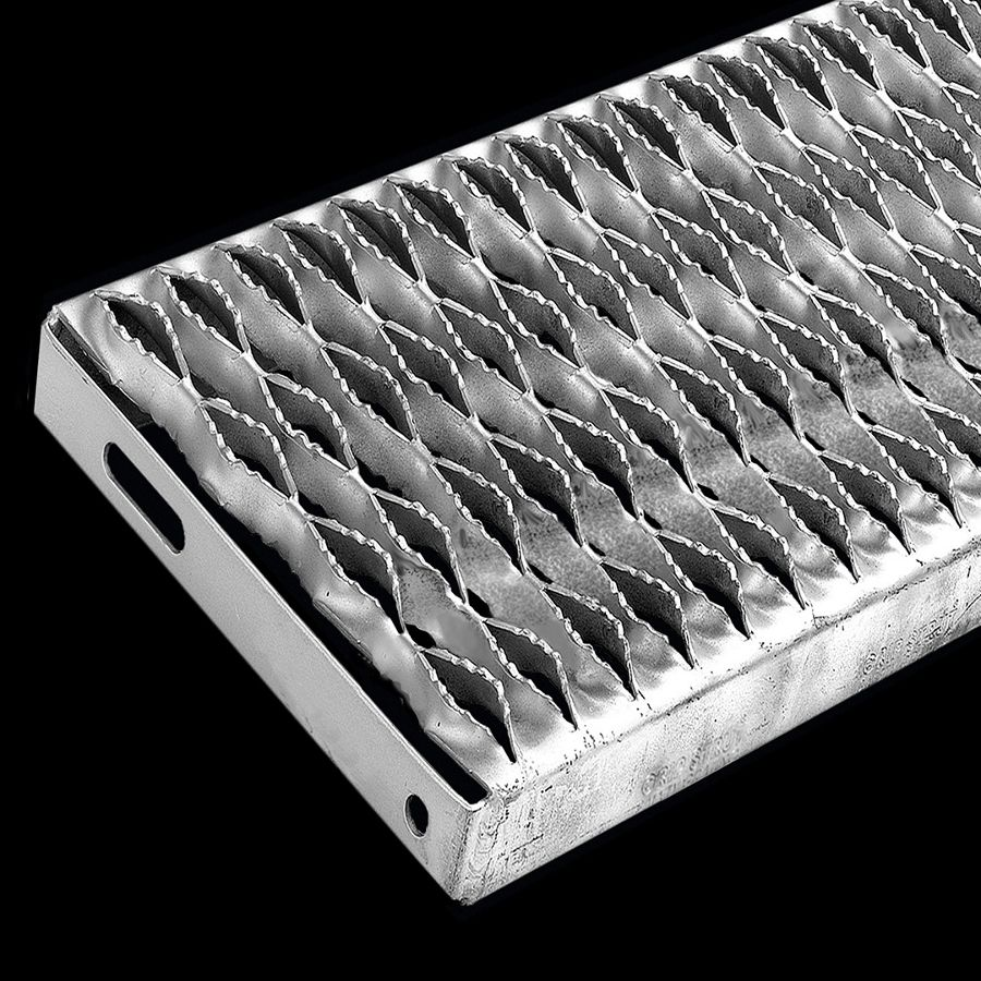 "McNICHOLS® Stair Treads Plank Grating, Plank Stair Tread, GRIP STRUT®, Carbon Steel, HRPO, 14 Gauge (.0747"" Thick), 4-Diamond (9-1/2"" Width), 1-1/2"" Channel Depth, Serrated Surface, No Nosing, CP-PG-415 Plank Grating Stair Tread Carrier Plates Attached, 45% Open Area"