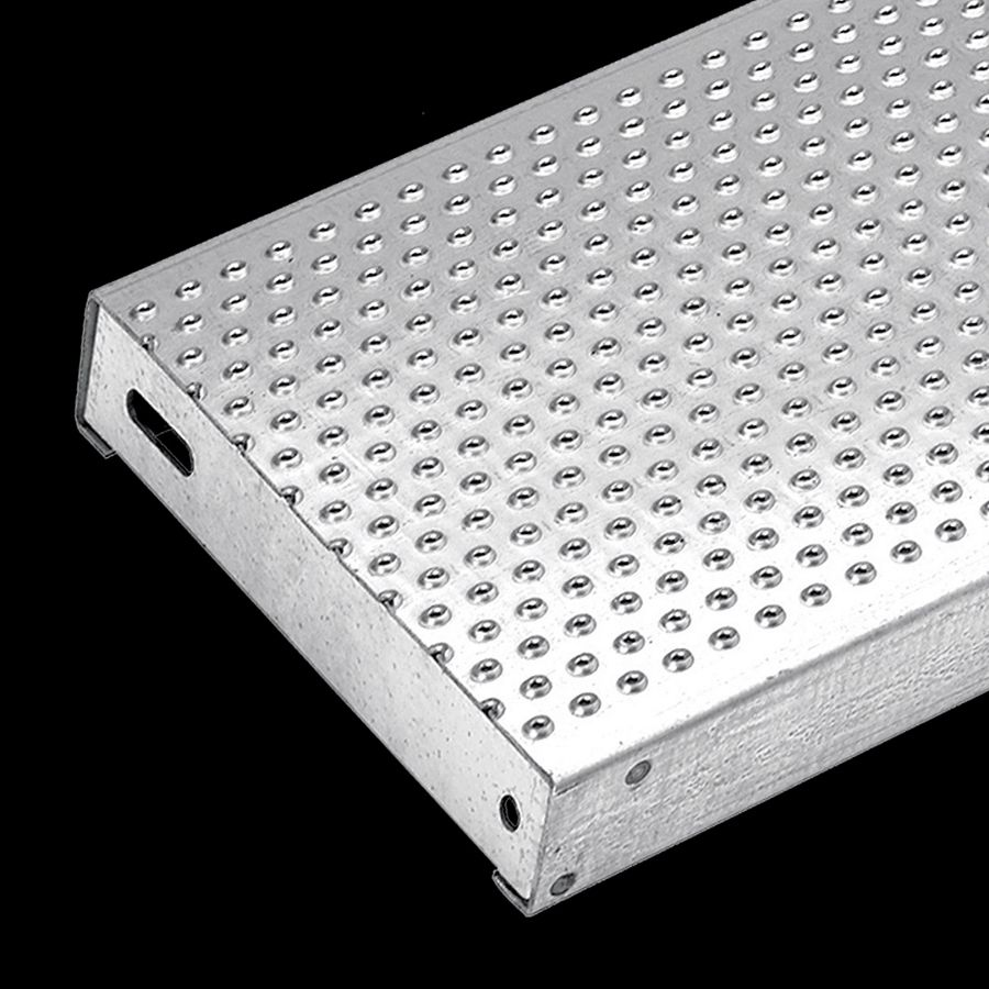 """McNICHOLS® Stair Treads Plank Grating, Plank, Stair Tread, TRACTION TREAD®, Galvanized Steel, G90, 13 Gauge (.0934"""" Thick), Button-Top (12"""" Width), 2"""" Channel Depth, Slip-Resistant Surface, No Nosing, CP-PG-1220 Plank Grating Stair Tread Carrier Plates Attached, 4% Open Area"""