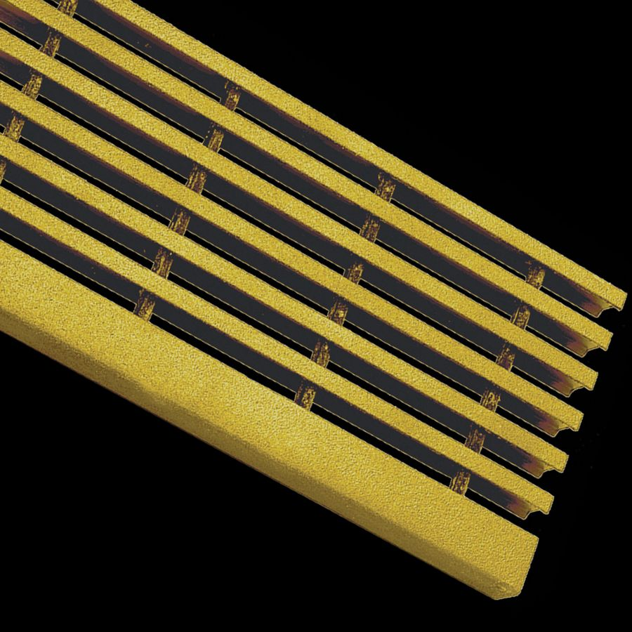 "McNICHOLS® Stair Treads Fiberglass Grating, Pultruded, Stair Tread Panel, I-Bar, MS-I-ST-6015 - DURAGRID®, Fiberglass, SPF Polyester Resin, Yellow, 1.500"" Height x 0.600"" Top Flange Width I-Bar, Medium Grit Surface, 2.000"" Wide Integral Nosing on One Side of Stair Tread Panel Length, 60% Open Area"