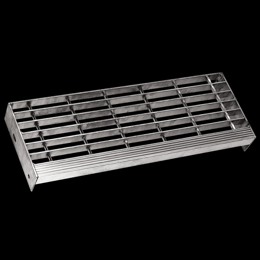 """McNICHOLS® Stair Treads Bar Grating, Swage-Locked, Stair Tread, Rectangular Bar, GAL-150, 19-S-4 Spacing, Aluminum, Alloy 6063-T6, 1-1/2"""" x 3/16"""" Rectangular Bars, Smooth Surface, Corrugated 90° Angle Nosing, CP-BG-1230 Bar Grating Stair Tread Carrier Plates Attached, 80% Open Area"""