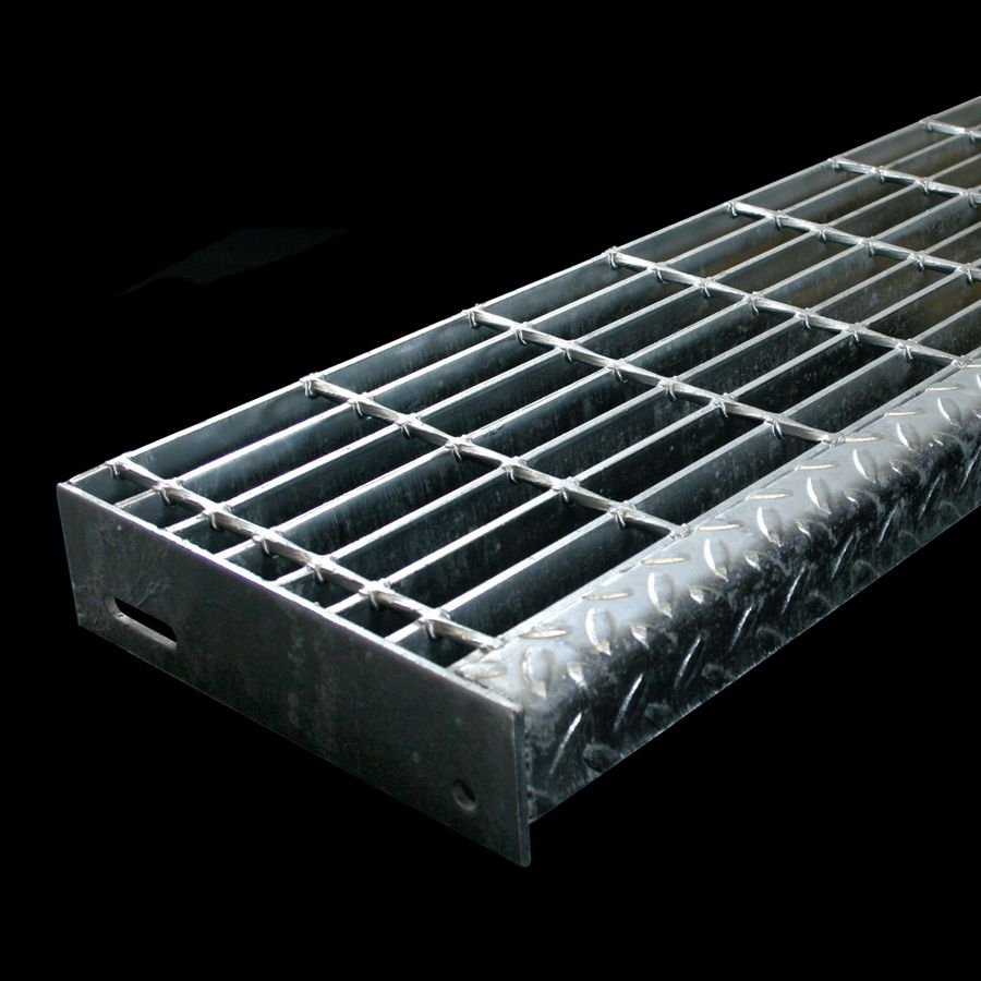 "McNICHOLS® Stair Treads Bar Grating, Welded, Stair Tread, GW-100, 19-W-4 Spacing, Galvanized, 1"" x 3/16"" Rectangular Bars, Smooth Surface, Checkered Plate Angle Nosing, Standard End Plates Attached, 77% Open Area"