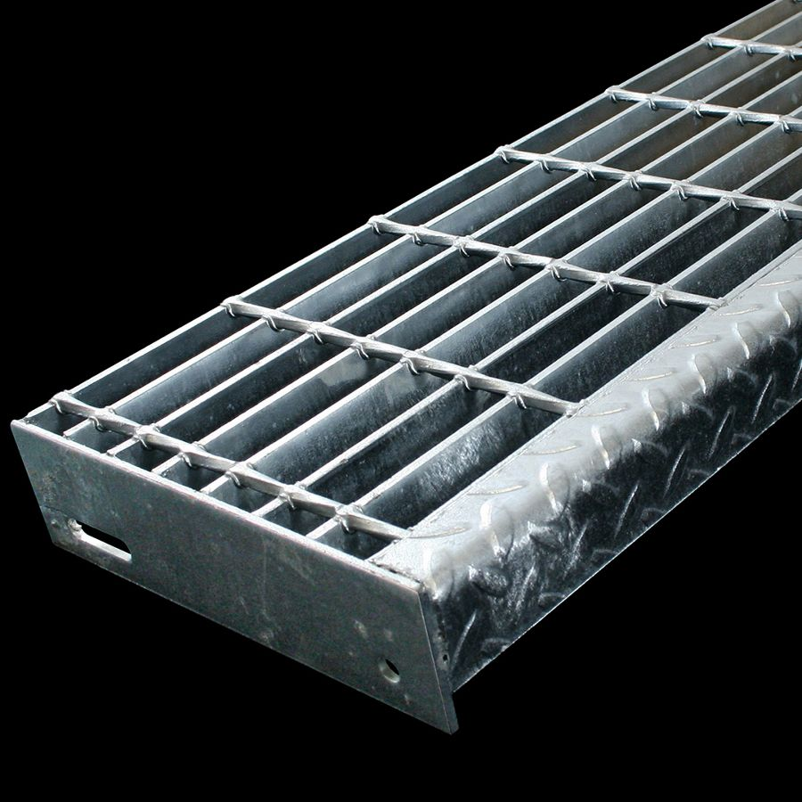 """McNICHOLS® Stair Treads Bar Grating, Welded, Stair Tread, Rectangular Bar, GW-100, 19-W-4 Spacing, Galvanized Steel, Hot Dipped, 1"""" x 3/16"""" Rectangular Bars, Smooth Surface, Checkered Plate 90° Angle Nosing, CP-BG-925 Bar Grating Stair Tread Carrier Plates Attached, 77% Open Area"""