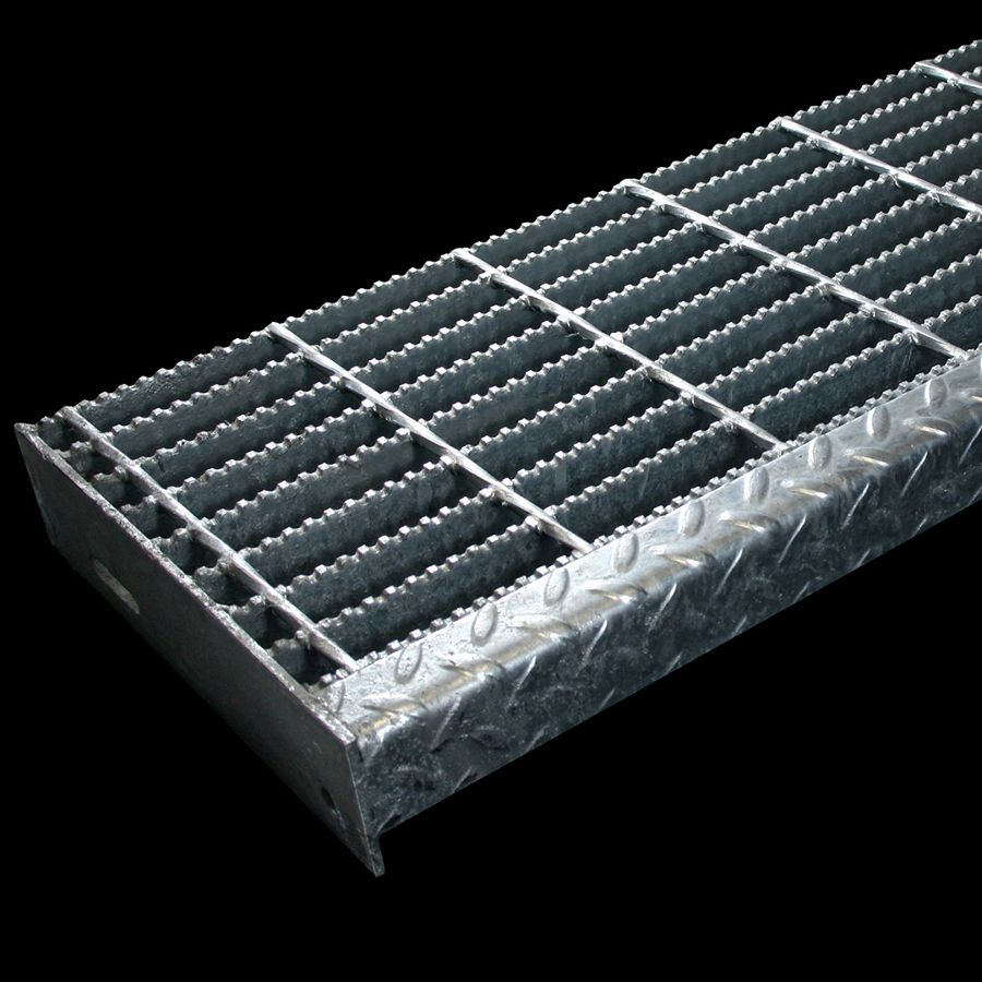 "McNICHOLS® Stair Treads Bar Grating, Welded, Stair Tread, Rectangular Bar, GW-100, 19-W-4 Spacing, Galvanized Steel, Hot Dipped, 1"" x 3/16"" Rectangular Bars, Serrated Surface, Checkered Plate 90° Angle Nosing, CP-BG-1025 Bar Grating Stair Tread Carrier Plates Attached, 77% Open Area"