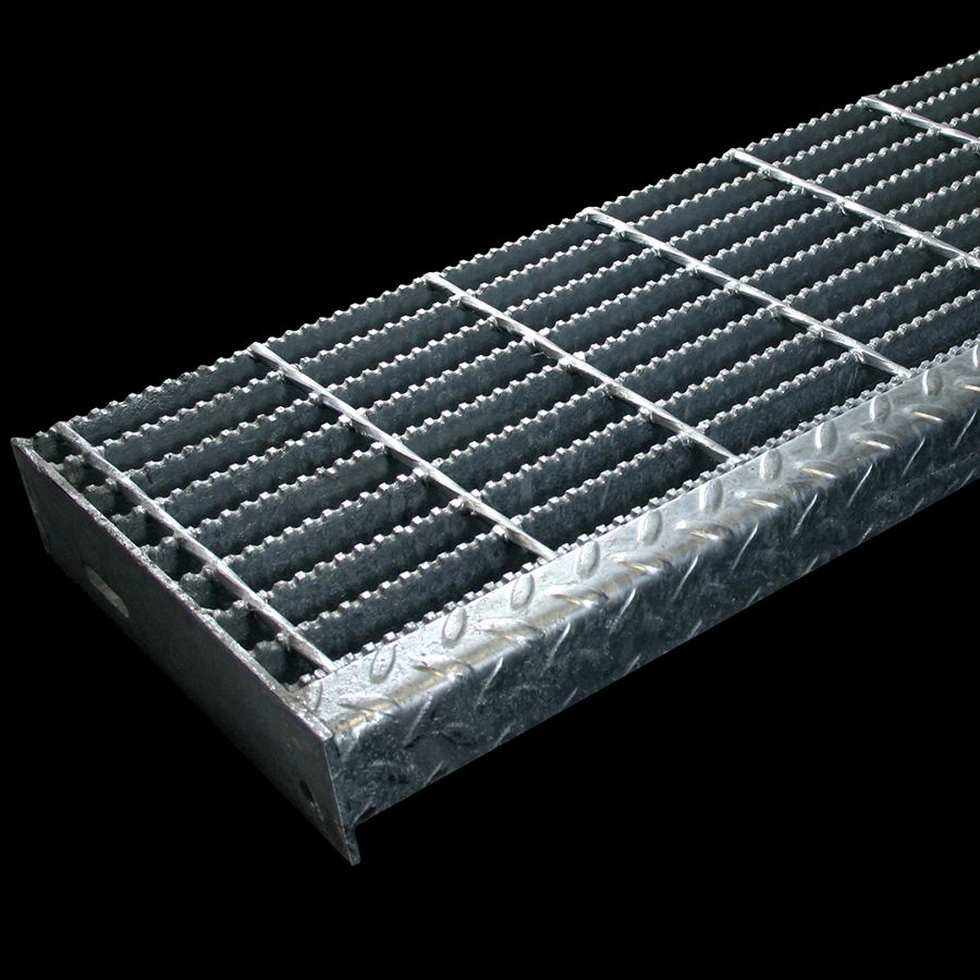 """McNICHOLS® Stair Treads Bar Grating, Standard-Duty Welded, Stair Tread, Rectangular Bar, GW-150, 19-W-4 Spacing, Galvanized Steel, Hot Dipped, 1-1/2"""" x 3/16"""" Rectangular Bars, Serrated Surface, Checkered Plate 90° Angle Nosing, CP-BG-1230 Bar Grating Stair Tread Carrier Plates Attached, 77% Open Area"""