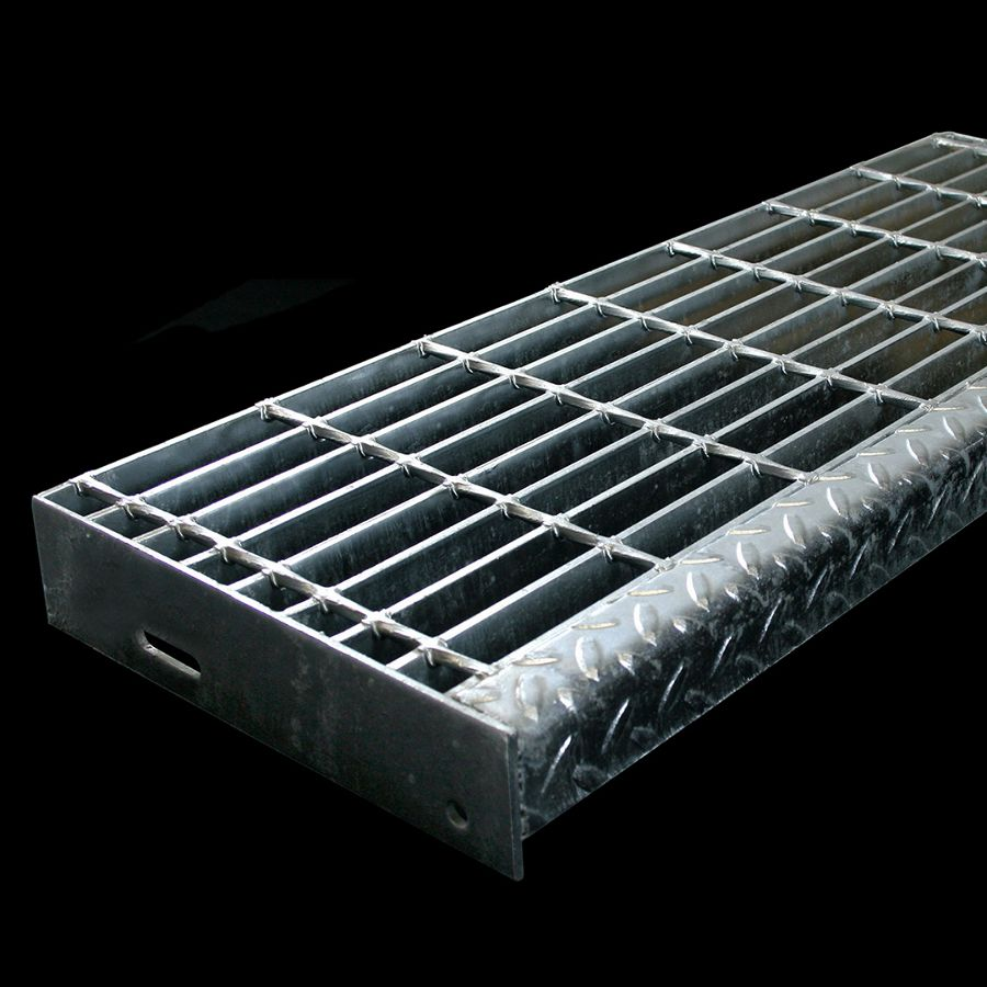 "McNICHOLS® Stair Treads Bar Grating, Welded, Stair Tread, Rectangular Bar, GW-125, 19-W-4 Spacing, Galvanized Steel, Hot Dipped, 1-1/4"" x 3/16"" Rectangular Bars, Smooth Surface, Checkered Plate 90° Angle Nosing, CP-BG-1025 Bar Grating Stair Tread Carrier Plates Attached, 77% Open Area"