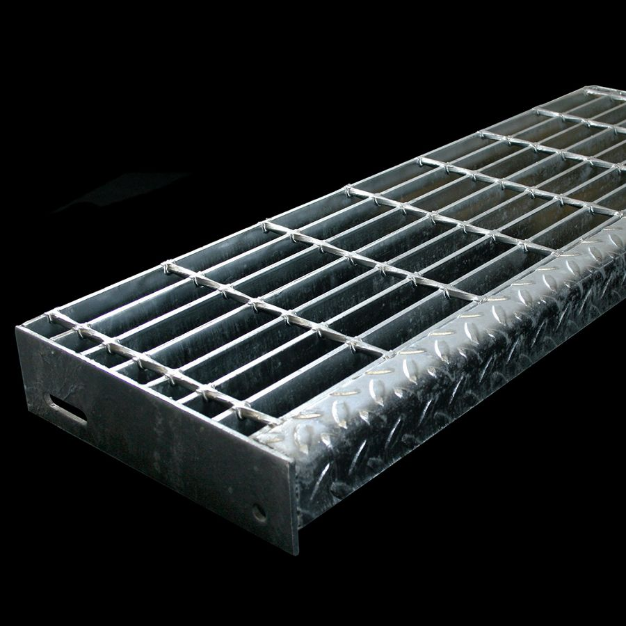 """McNICHOLS® Stair Treads Bar Grating, Standard-Duty Welded, Stair Tread, Rectangular Bar, GW-125, 19-W-4 Spacing, Galvanized Steel, Hot Dipped, 1-1/4"""" x 3/16"""" Rectangular Bars, Smooth Surface, Checkered Plate 90° Angle Nosing, CP-BG-925 Bar Grating Stair Tread Carrier Plates Attached, 77% Open Area"""