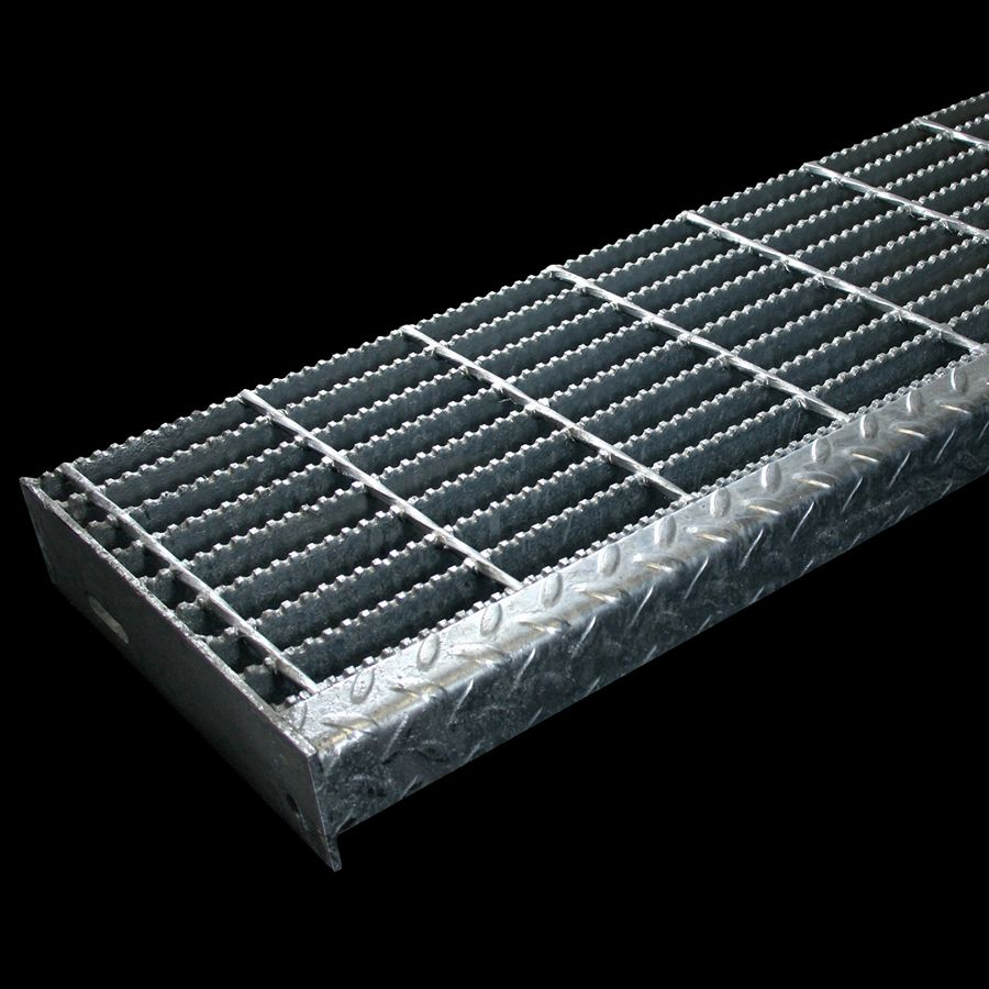 "McNICHOLS® Stair Treads Bar Grating, Welded, Stair Tread, Rectangular Bar, GW-125, 19-W-4 Spacing, Galvanized Steel, Hot Dipped, 1-1/4"" x 3/16"" Rectangular Bars, Serrated Surface, Checkered Plate 90° Angle Nosing, CP-BG-1025 Bar Grating Stair Tread Carrier Plates Attached, 77% Open Area"
