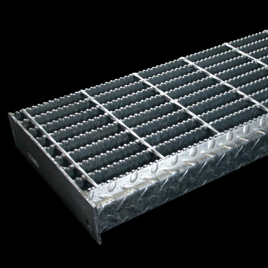 "McNICHOLS® Stair Treads Bar Grating, Welded, Stair Tread, Rectangular Bar, GW-125, 19-W-4 Spacing, Carbon Steel, Hot Rolled, 1-1/4"" x 3/16"" Rectangular Bars, Serrated Surface, Checkered Plate 90° Angle Nosing, CP-BG-1225 Bar Grating Stair Tread Carrier Plates Attached, 77% Open Area"