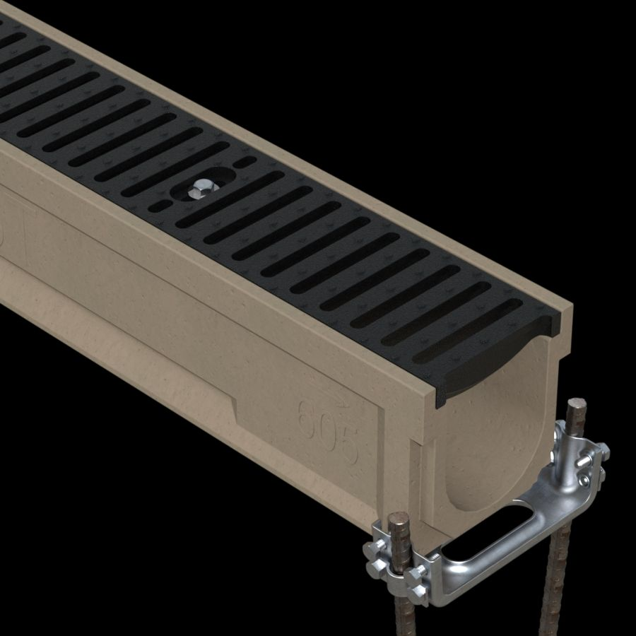 McNICHOLS® Trench Drain System, POLYCAST® Series 600, Polymer Concrete, Kit 1 - 20-Linear Feet