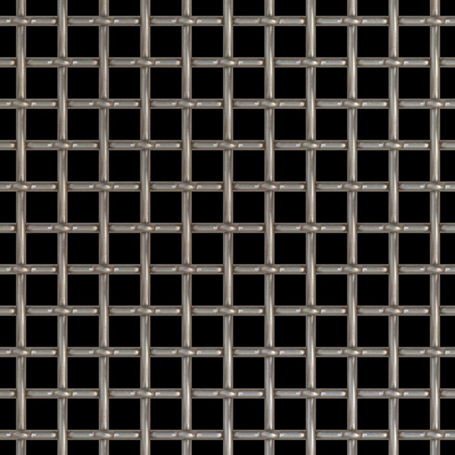 """McNICHOLS® Wire Mesh Square, Stainless Steel, Type 316L, Woven - Lock Crimp/Plain Weave, 2 x 2 Mesh (Square), 0.3800"""" x 0.3800"""" Opening (Square), 0.120"""" Thick (11 Gauge) Wire Diameter, 58% Open Area"""