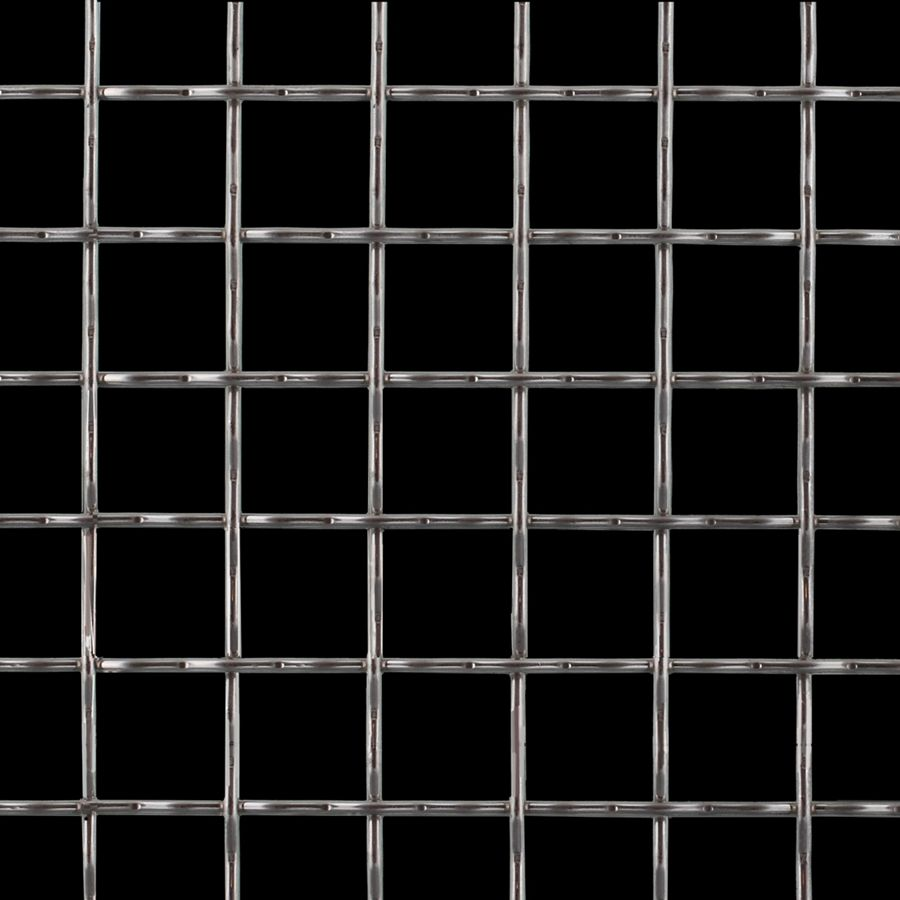 "McNICHOLS® Wire Mesh Square, Galvanized Steel, Pre-Galvanized, Woven - Intercrimp Weave, I3I3 Crimp Style, 1.0000"" x 1.0000"" Opening (Square), 0.120"" Thick (11 Gauge) Wire Diameter, 77% Open Area"