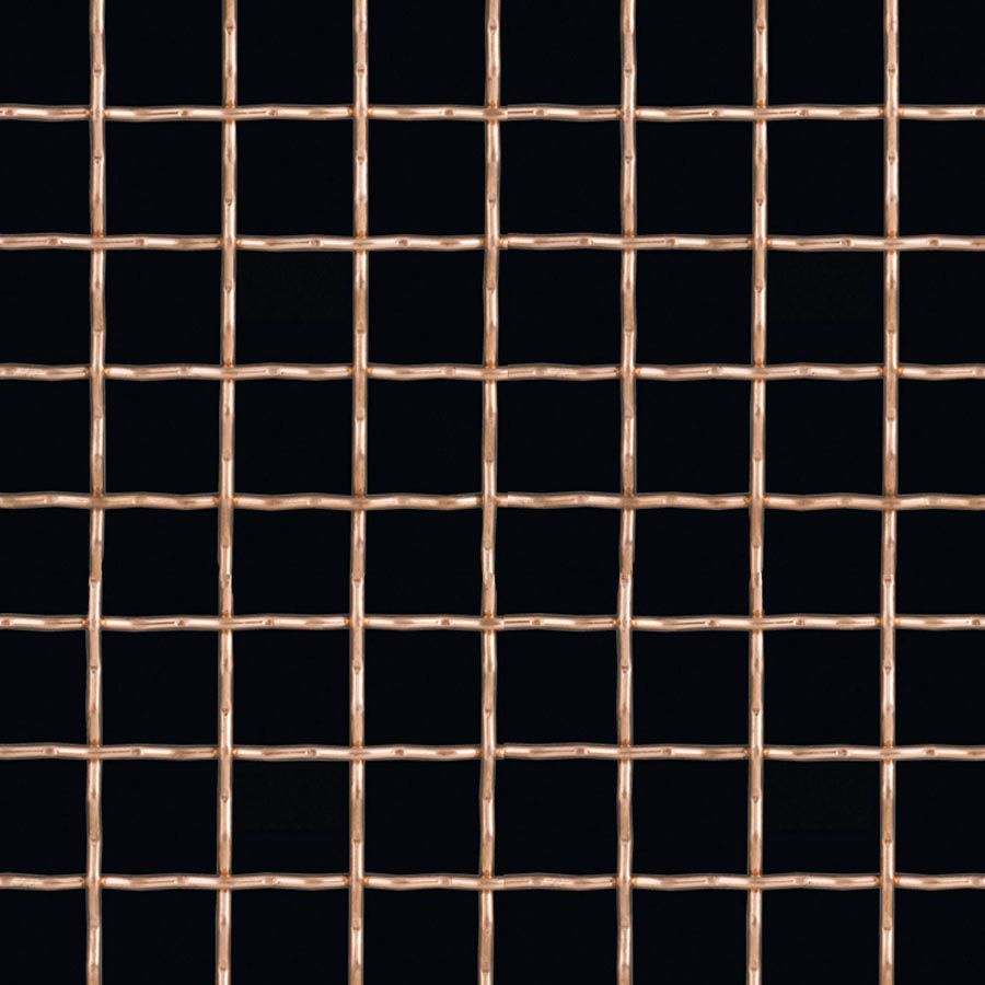 "McNICHOLS® Wire Mesh Square, Copper, Copper Alloy, Woven - Intercrimp Weave, I3I3 Crimp Style, 2 x 2 Mesh (Square), 0.4370"" x 0.4370"" Opening (Square), 0.063"" Thick (16 Gauge) Wire Diameter, 76% Open Area"