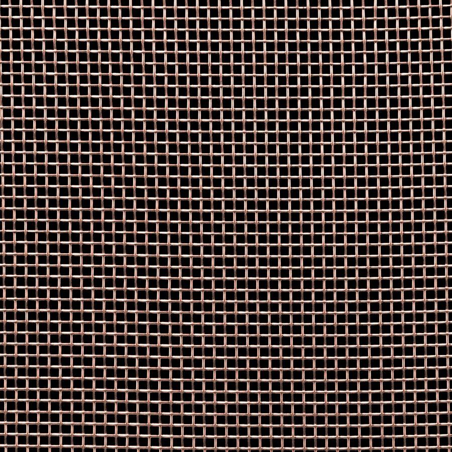"McNICHOLS® Wire Mesh Square, Copper, Copper Alloy, Woven - Plain Weave, 8 x 8 Mesh (Square), 0.0970"" x 0.0970"" Opening (Square), 0.028"" Thick (22-1/4 Gauge) Wire Diameter, 60% Open Area"