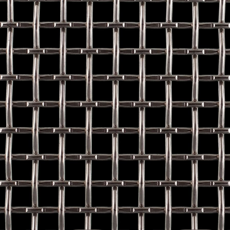 """McNICHOLS® Wire Mesh Square, Carbon Steel, Cold Rolled, Woven - Lock Crimp/Plain Weave, 2 x 2 Mesh (Square), 0.3800"""" x 0.3800"""" Opening (Square), 0.120"""" Thick (11 Gauge) Wire Diameter, 58% Open Area"""