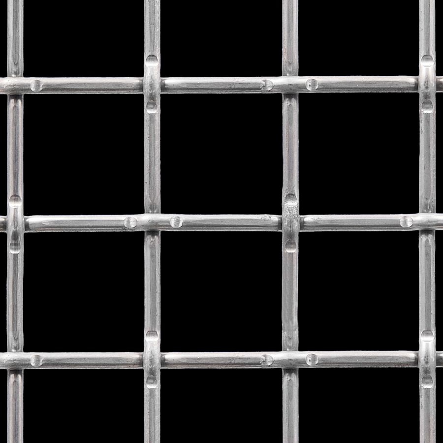 "McNICHOLS® Wire Mesh Square, Carbon Steel, Cold Rolled, Woven - Lockcrimp Weave, 1.7500"" x 1.7500"" Opening (Square), 0.250"" Thick (2-3/4 Gauge) Wire Diameter, 77% Open Area"
