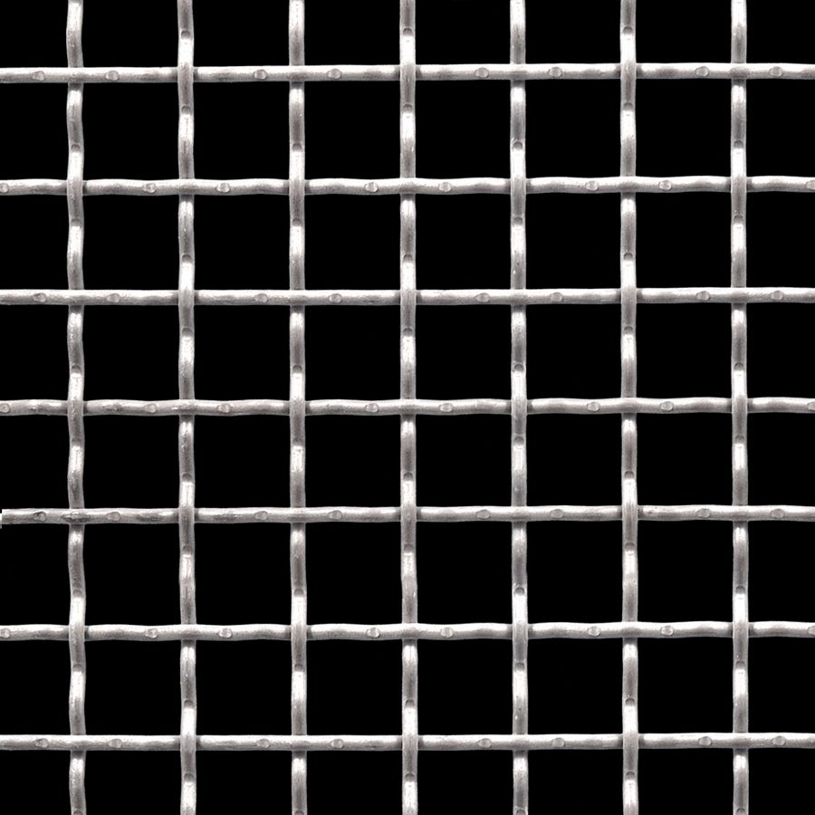 "McNICHOLS® Wire Mesh Square, Carbon Steel, Cold Rolled, Woven - Intercrimp Weave, I3I3 Crimp Style, 0.7500"" x 0.7500"" Opening (Square), 0.120"" Thick (11 Gauge) Wire Diameter, 74% Open Area"