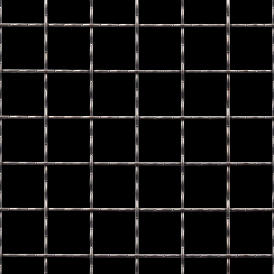 "McNICHOLS® Wire Mesh Square, Carbon Steel, Cold Rolled, Woven - Intercrimp Weave, I5I5 Crimp Style, 1.5000"" x 1.5000"" Opening (Square), 0.120"" Thick (11 Gauge) Wire Diameter, 86% Open Area"