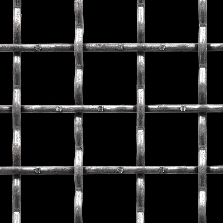 """McNICHOLS® Wire Mesh Square, Carbon Steel, Cold Rolled, Woven - Intercrimp Weave, 1.5000"""" x 1.5000"""" Opening (Square), 0.250"""" Thick (2-3/4 Gauge) Wire Diameter, 74% Open Area"""
