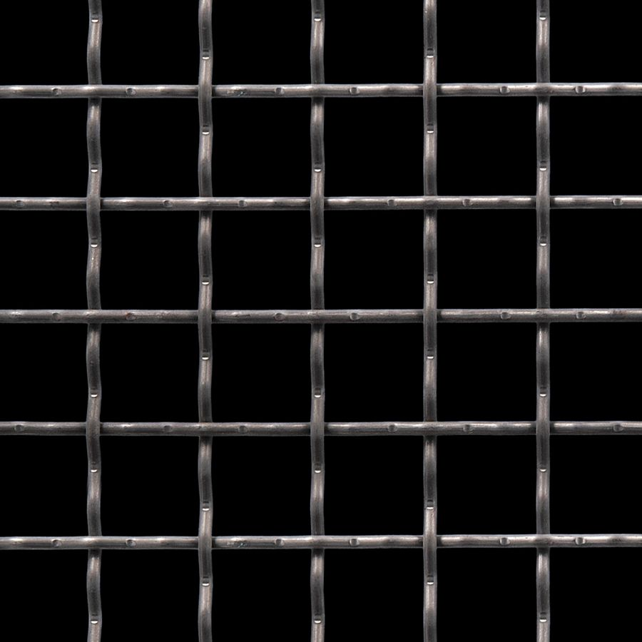 "McNICHOLS® Wire Mesh Square, Carbon Steel, Cold Rolled, Woven - Intercrimp Weave, I3I3 Crimp Style, 1.0000"" x 1.0000"" Opening (Square), 0.135"" Thick (10 Gauge) Wire Diameter, 78% Open Area"