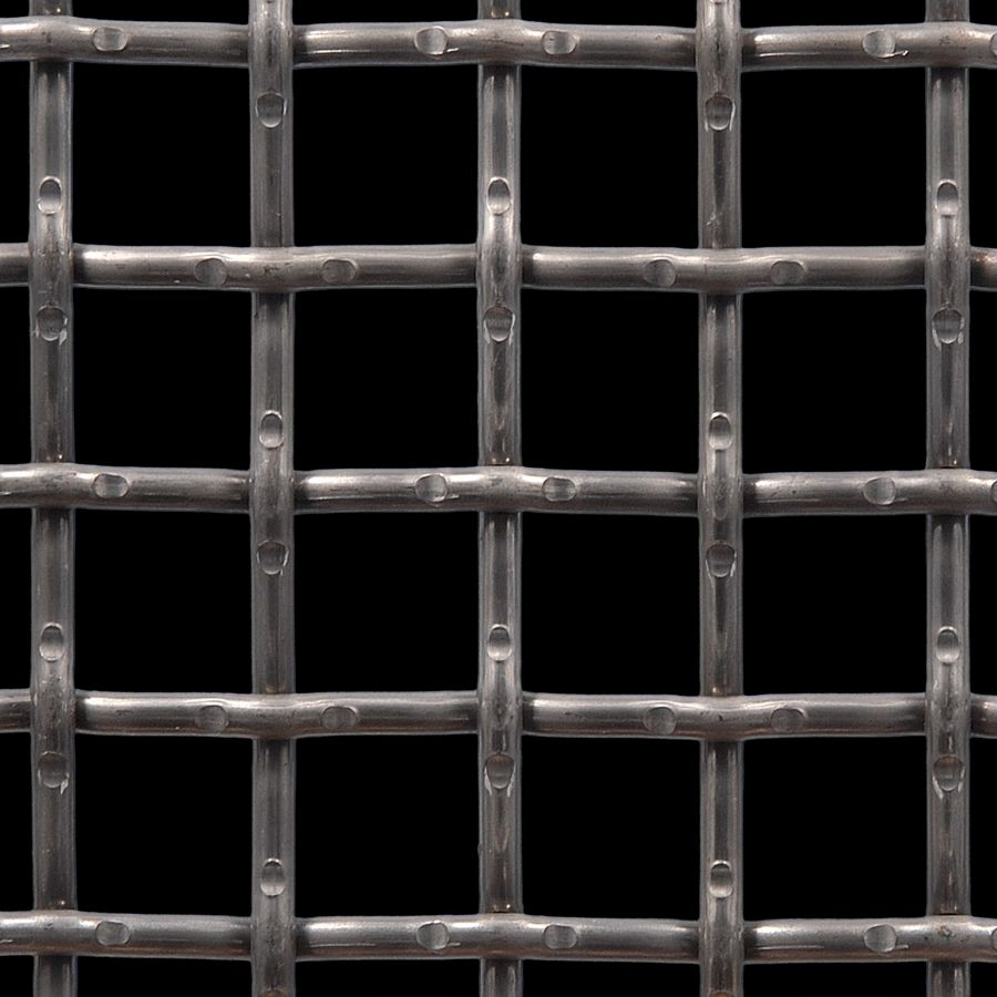 "McNICHOLS® Wire Mesh Square, Carbon Steel, Cold Rolled, Woven - Lock Crimp Weave, 1.0000"" x 1.0000"" Opening (Square), 0.250"" Thick (2-3/4 Gauge) Wire Diameter, 64% Open Area"