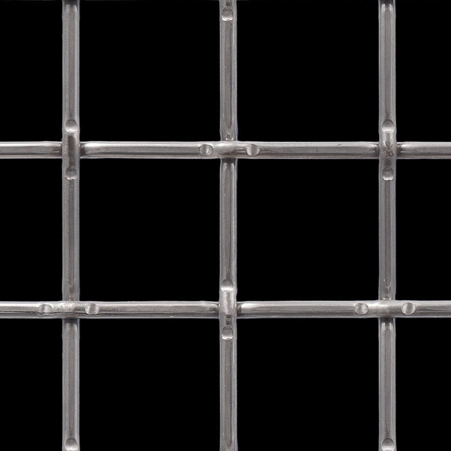 "McNICHOLS® Wire Mesh Square, Carbon Steel, Cold Rolled, Woven - Lockcrimp Weave, 2"" x 2"" Opening (Square), 0.250"" Thick (2-3/4 Gauge) Wire Diameter, 79% Open Area"