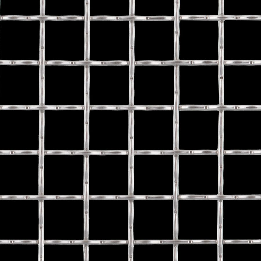 "McNICHOLS® Wire Mesh Square, Aluminum, Type 1350-H19, Woven - Intercrimp Weave, 1 x 1 Mesh (Square), 0.8800"" x 0.8800"" Opening (Square), 0.120"" Thick Wire Diameter, 77% Open Area"