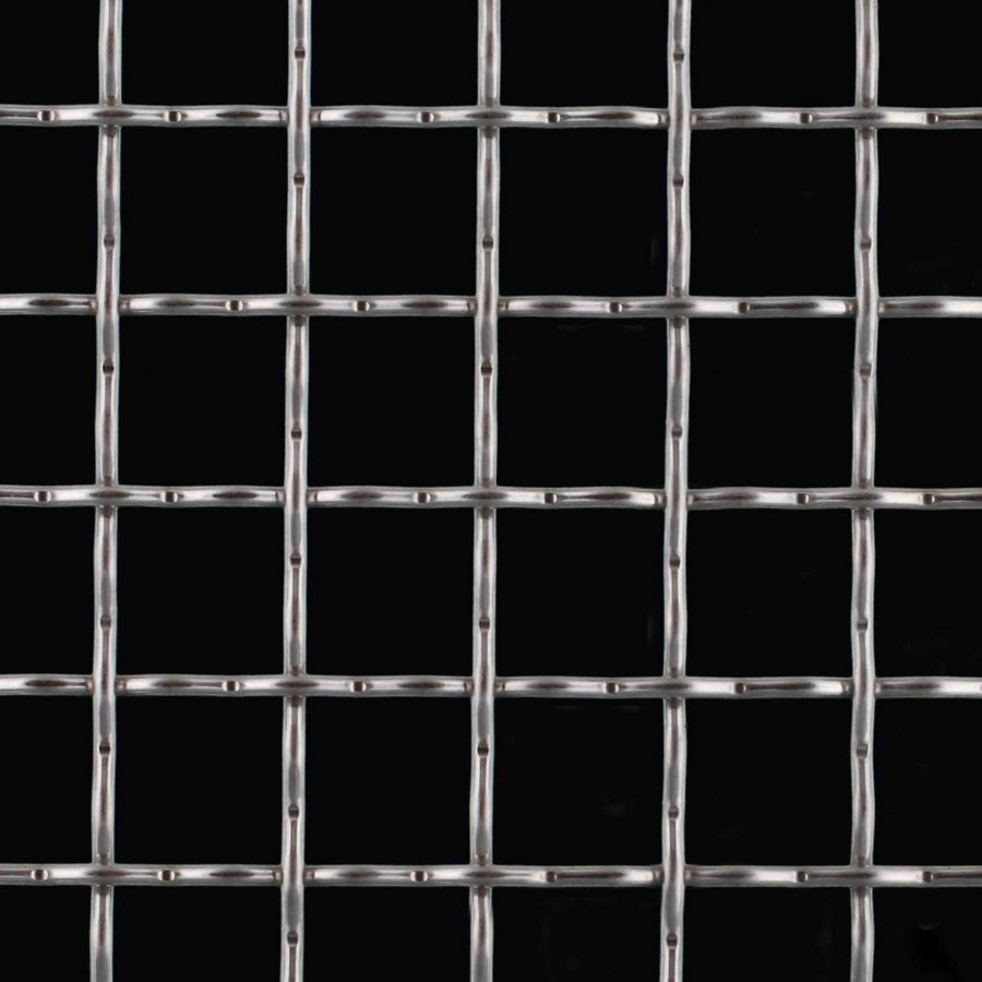 "McNICHOLS® Wire Mesh Square, Stainless Steel, Type 304, Woven - Intercrimp Weave, 1 x 1 Mesh (Square), 0.8800"" x 0.8800"" Opening (Square), 0.120"" Thick (11 Gauge) Wire Diameter, 77% Open Area"