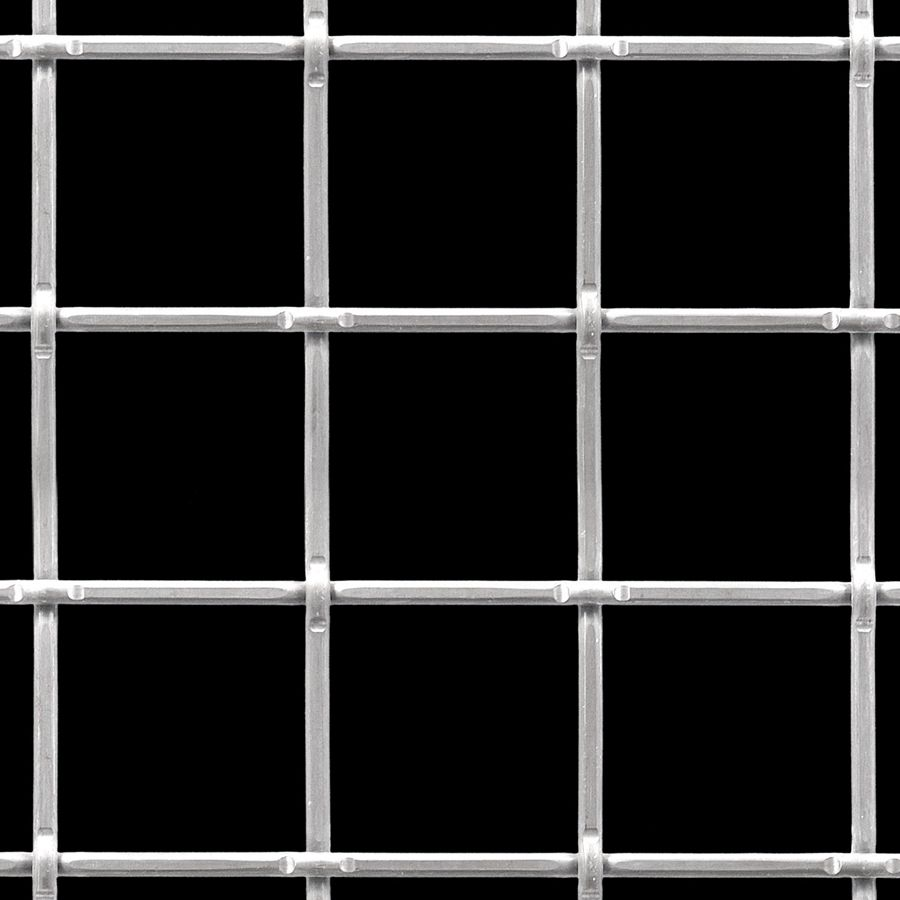 """McNICHOLS® Wire Mesh Square, Stainless Steel, Type 304, Woven - Lock Crimp Weave, 2.0000"""" x 2.0000"""" Opening (Square), 0.192"""" Thick (6 Gauge) Wire Diameter, 83% Open Area"""