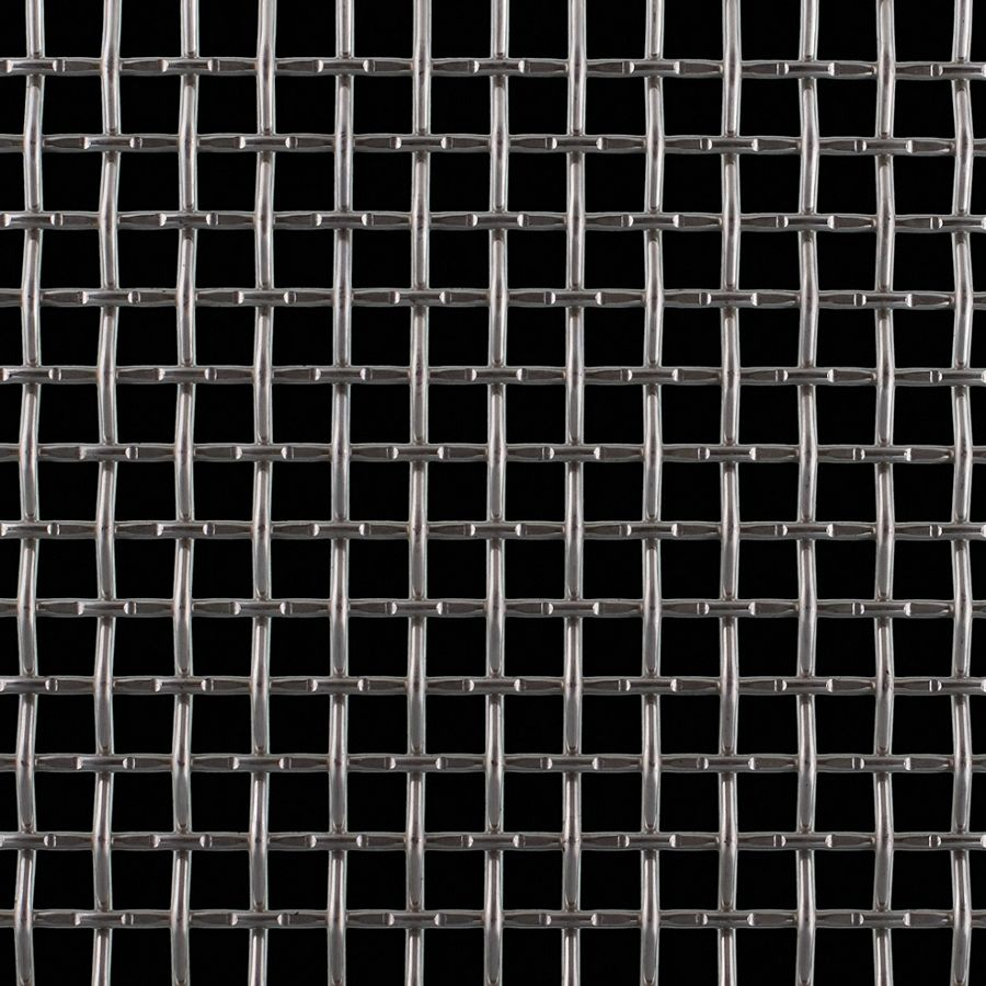 "McNICHOLS® Wire Mesh Square, Stainless Steel, Type 304, Woven - Lock Crimp/Plain Weave, 2 x 2 Mesh (Square), 0.3800"" x 0.3800"" Opening (Square), 0.120"" Thick (11 Gauge) Wire Diameter, 58% Open Area"