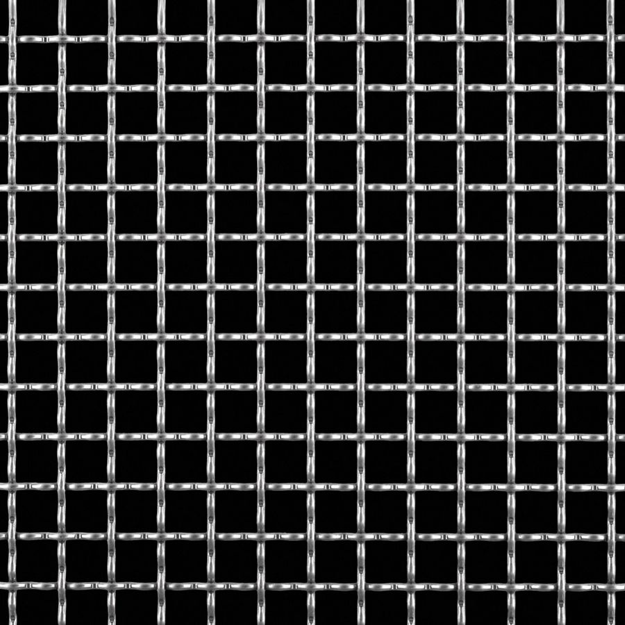 "McNICHOLS® Wire Mesh Square, Stainless Steel, Type 304, Woven - Intercrimp Weave, I3I3 Crimp Style, 2 x 2 Mesh (Square), 0.4200"" x 0.4200"" Opening (Square), 0.080"" Thick (14 Gauge) Wire Diameter, 71% Open Area"