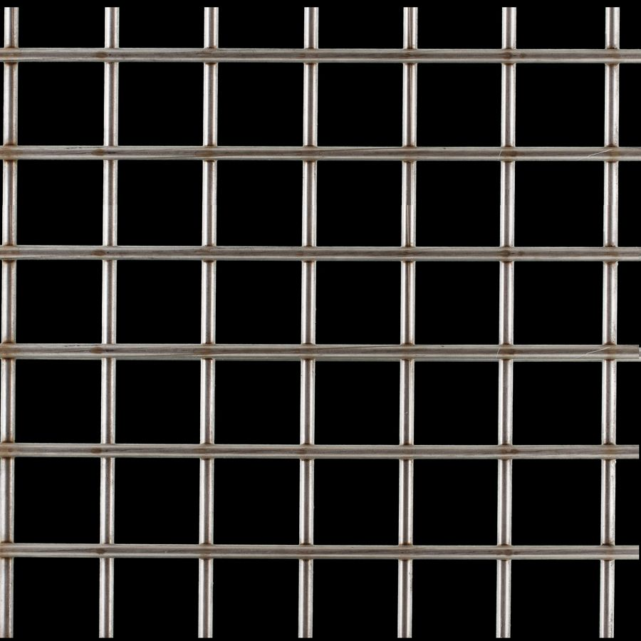 "McNICHOLS® Wire Mesh Square, Stainless Steel, Type 304, Welded - Untrimmed, 1-1/2"" x 1-1/2"" Opening (Square), 0.250"" Thick (2-3/4 Gauge) Wire Diameter, 73% Open Area"
