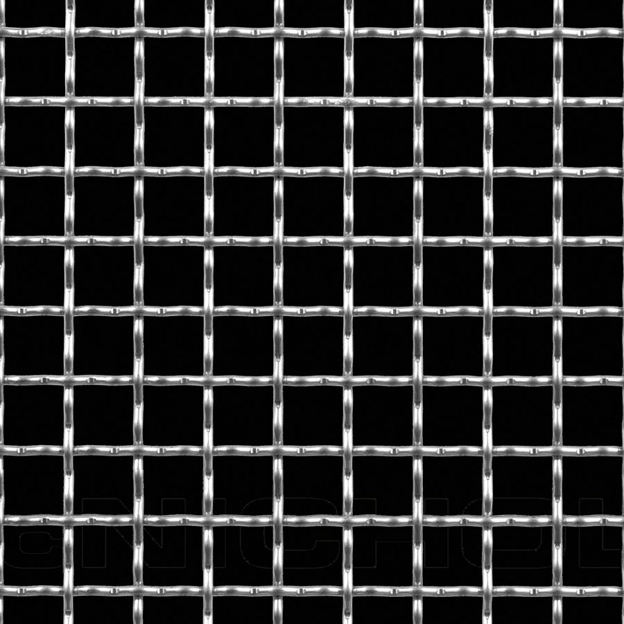 "McNICHOLS® Wire Mesh Square, Stainless Steel, Type 304, Woven - Intercrimp Weave, I3I3 Crimp Style, 3/4"" x 3/4"" Mesh (Square), 0.6450"" x 0.6450"" Opening (Square), 0.105"" Thick (12 Gauge) Wire Diameter, 74% Open Area"