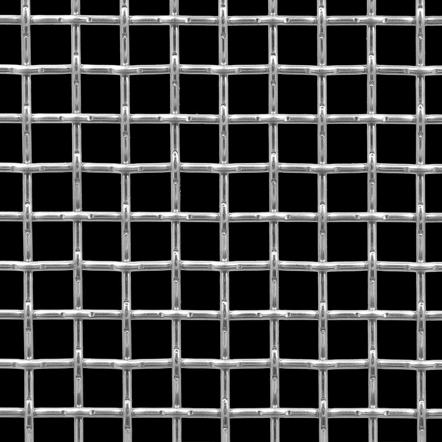 "McNICHOLS® Wire Mesh Square, Stainless Steel, Type 304, Woven - Lock Crimp Weave, 0.5000"" x 0.5000"" Opening (Square), 0.120"" Thick (11 Gauge) Wire Diameter, 65% Open Area"