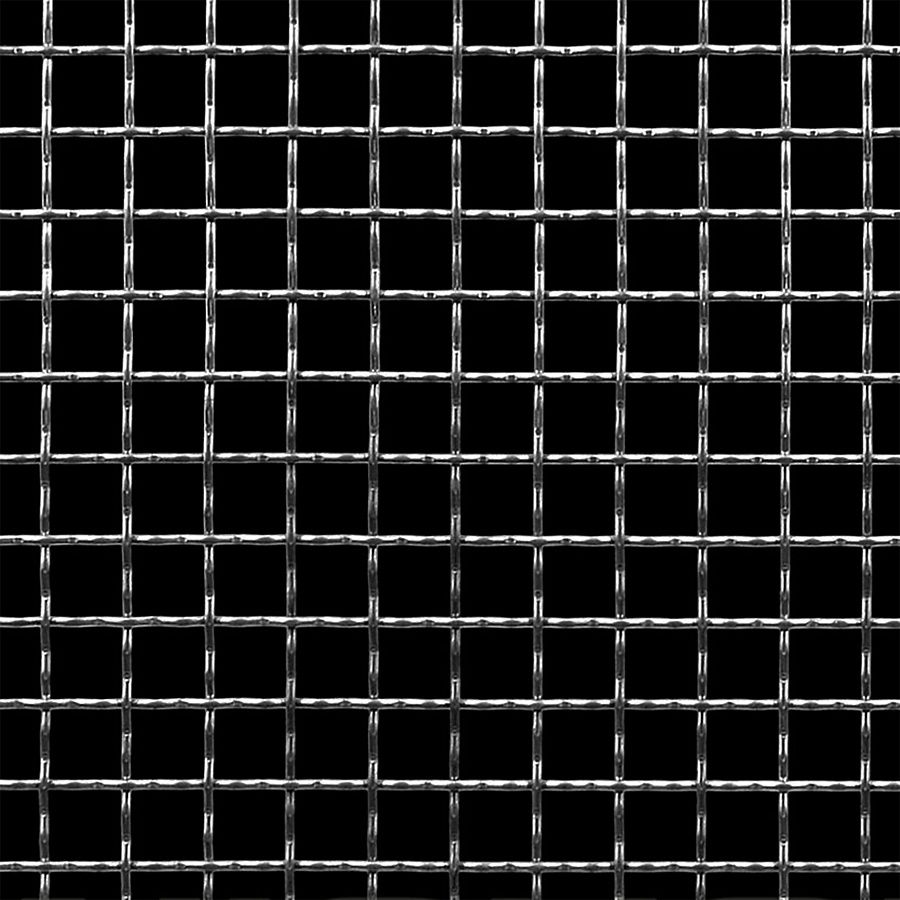 "McNICHOLS® Wire Mesh Square, Stainless Steel, Type 304, Woven - Intercrimp Weave, I3I3 Crimp Style, 2 x 2 Mesh (Square), 0.4370"" x 0.4370"" Opening (Square), 0.063"" Thick (16 Gauge) Wire Diameter, 76% Open Area"