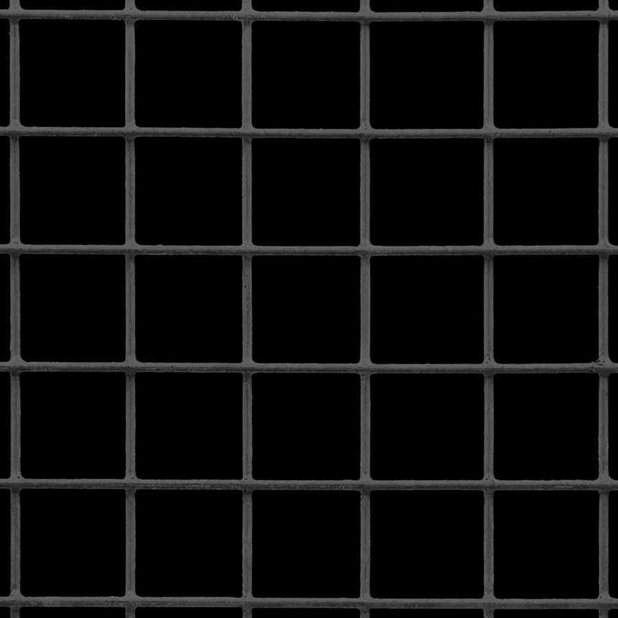 "McNICHOLS® Wire Mesh Square, VINYLMESH™, Galvanized, PVC Coated Black, Welded - Trimmed, 1 x 1 Mesh (Square), 0.9200"" x 0.9200"" Opening (Square), 0.080"" Thick (14 Gauge) Wire Diameter, 85% Open Area"