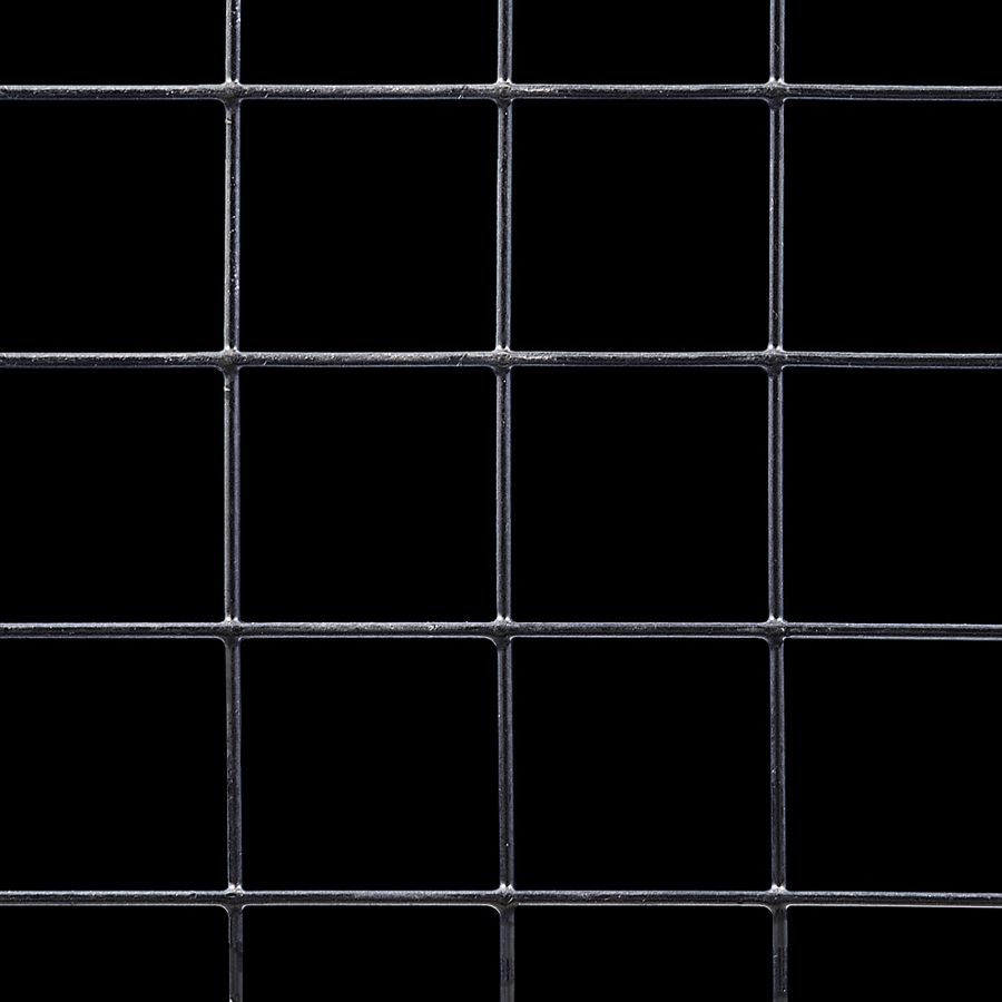 "McNICHOLS® Wire Mesh Square, VINYLMESH™, Galvanized Steel, PVC Coated Black, Welded - Trimmed, 2"" x 2"" Mesh (Square), 1.9010"" x 1.9010"" Opening (Square), 0.099"" Thick (12-1/2 Gauge) Wire Diameter, 90% Open Area"