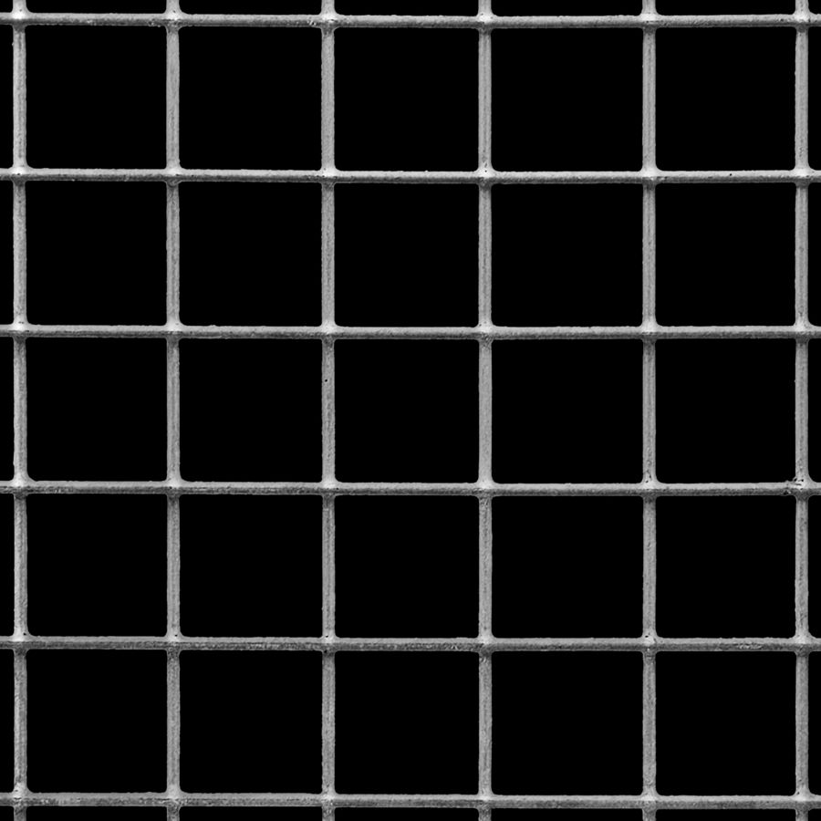 "McNICHOLS® Wire Mesh Square, VINYLMESH™, Galvanized Steel, PVC Coated Black, Welded - Trimmed, 2 x 2 Mesh (Square), 0.4370"" x 0.4370"" Opening (Square), 0.063"" Thick (16 Gauge) Wire Diameter, 76% Open Area"
