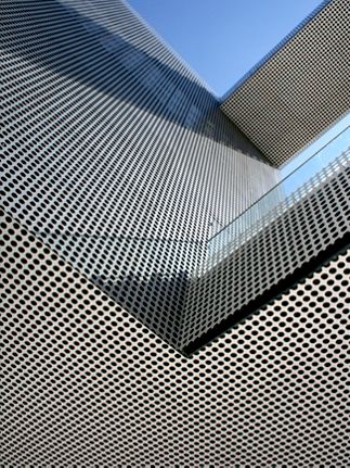 View from below of balcony cladded in Perforated Metal Panels